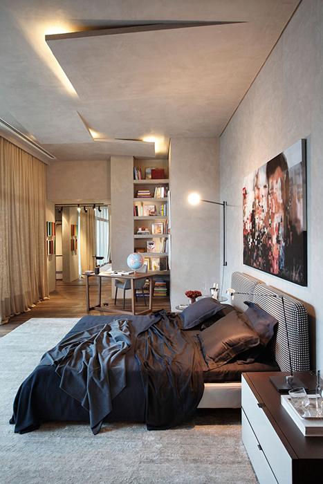 Оригинальный оштукатуренный потолок с подсветкой