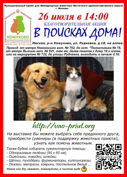 26 июля благотворительная акция-выставка животных из приюта!