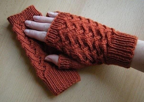 Описание вязания митенок спицами