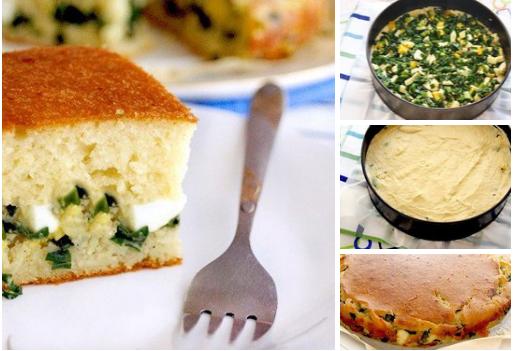 Вкусный и быстрый заливной пирог с зелёным луком и яйцом