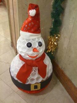 Снеговик из пластиковых стаканчиков своими руками на