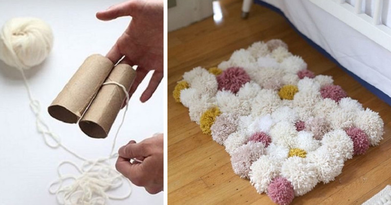 Не выбрасывайте картонные втулки рулончиков туалетной бумаги. Сделаем мягкий коврик