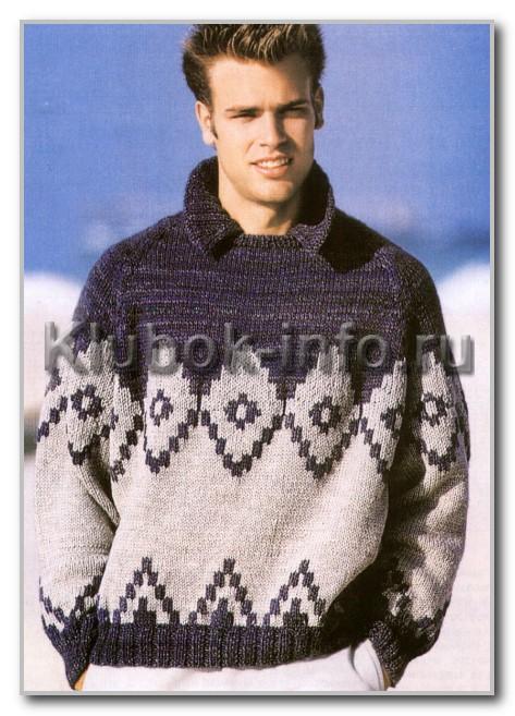 Двухцветный пуловер-реглан с круглым вырезом, воротником и жаккардовым узором