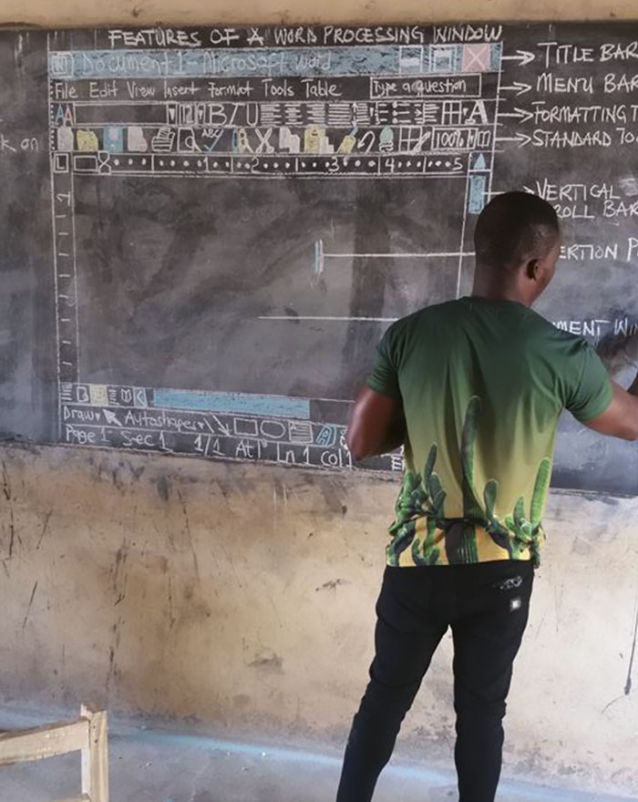 Teacher In Ghana Uses Chalk To Teach 'MS Word', And You Have To See It From Up Close To Really Appreciate It