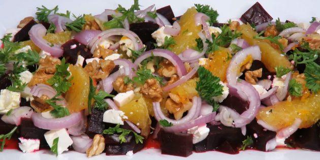 Салат из варёной свёклы с апельсином, орехами, фетой и цитрусово-медовой заправкой