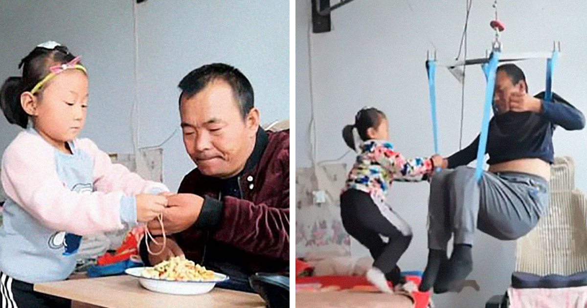 People Are Fascinated At The Way This Girl Takes Care Of Her Paralyzed Father After Her Mom Abandoned Them