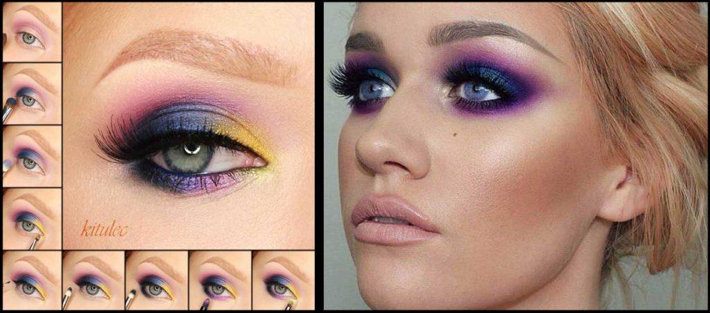 Яркий макияж для блондинки с карими глазами