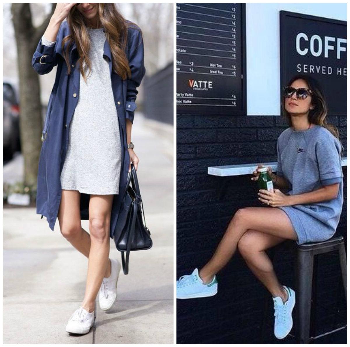 кроссовки и платье свитшот