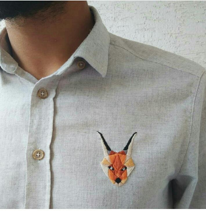 Рысь на мужской рубашке
