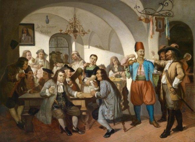 Кульчицкий в своей кофейне «Дом под синей флягой». Рисунок начала XX века.