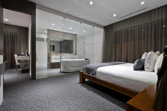 темно-серый тюль в спальне
