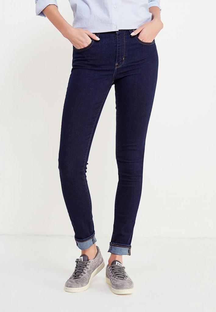 темно синие обтягивающие джинсы скинни с высокой талией