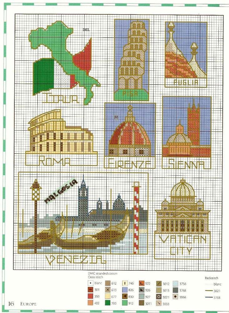 Италия вышивка схема