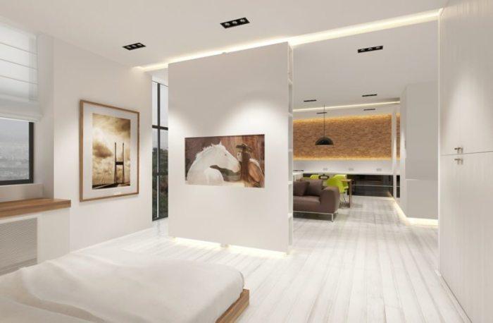 Такие перегородки помогают отделить спальное место от общего пространства, придавая комнате эстетический вид, наполняя уютом и комфортом.