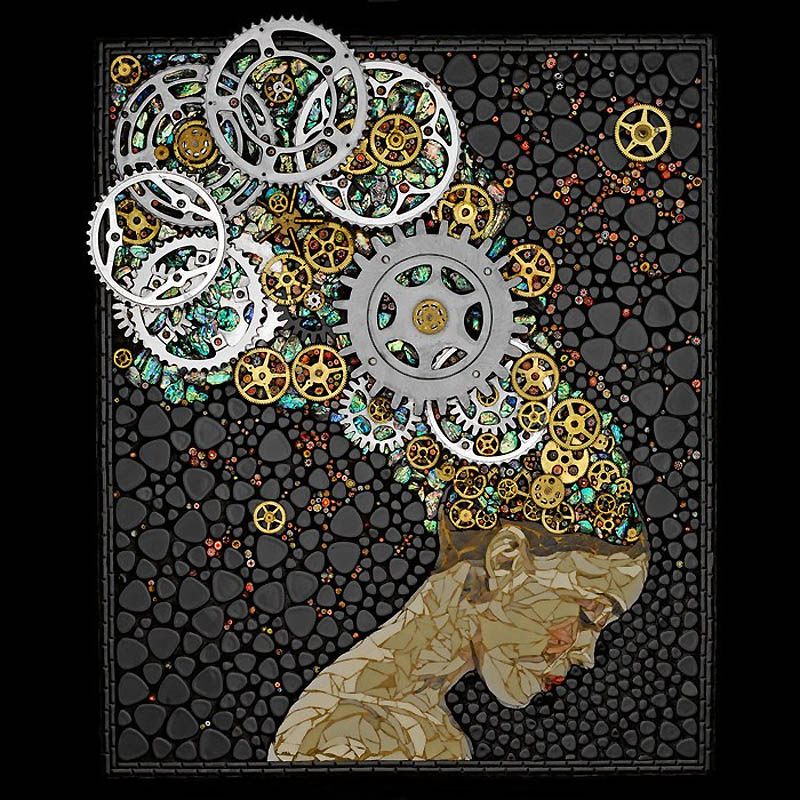 1143 Невероятные мозаики из ключей, деталей часов и других механизмов