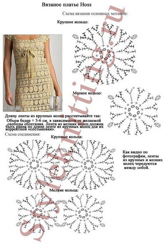 Вязание свадебного платья крючком с описанием и схемами