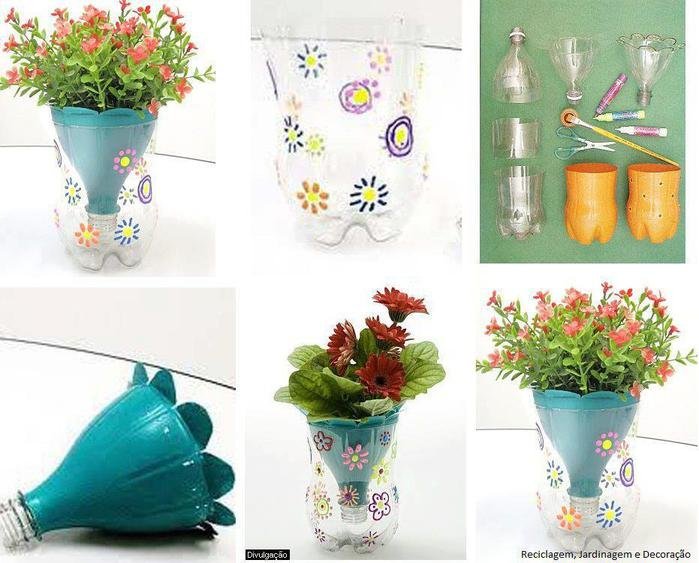 Цветочные горшки своими руками фото из пластиковых бутылок