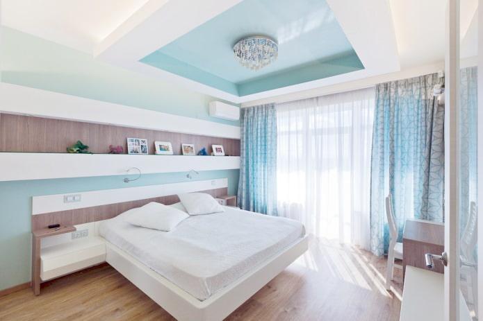 Портьера и тюль в спальне