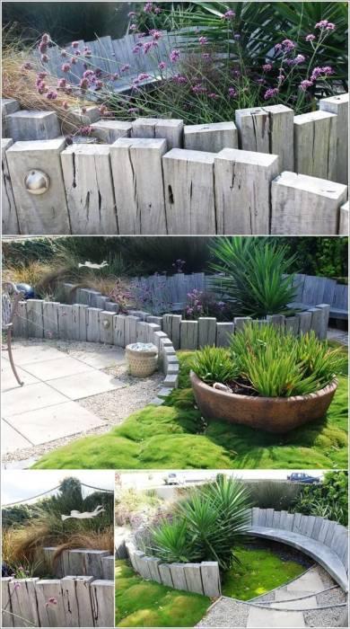 Необычный забор для цветника из обычных деревянных реек.