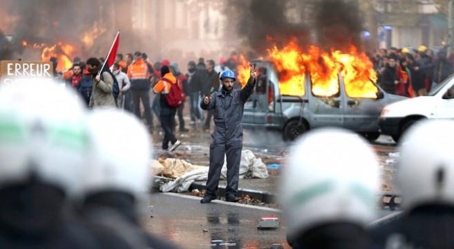 Бельгийские профсоюзы устроили «майдан» в центре Брюсселя