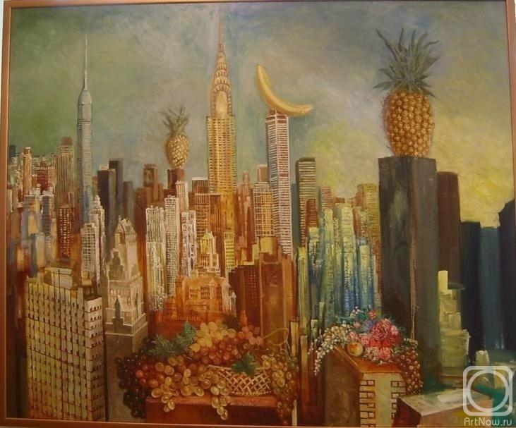 Картина маслом на холсте. Кузнецов-Фарфорский Дмитрий. Вид на Манхэттан