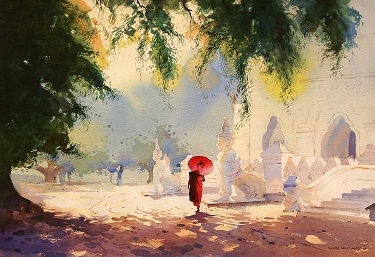 Акварельные картины художник Мьё Вин Онг 10