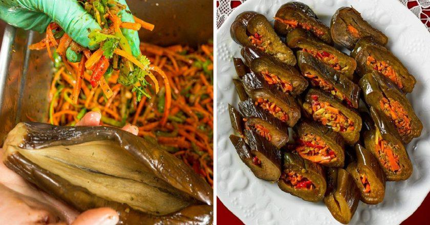 Маринованные фаршированные баклажаныс морковью