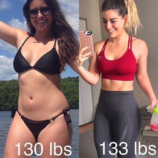 2 сравнительных фото — на одной она худеет на диете, а на другой - занимаясь спортом