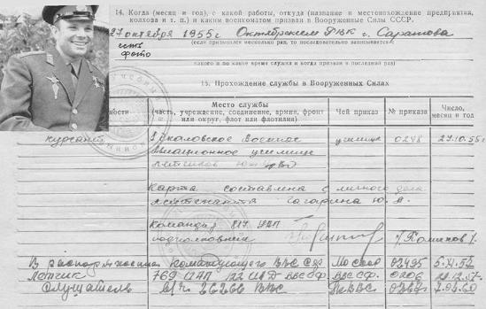 Минобороны опубликовало архивные материалы о Гагарине