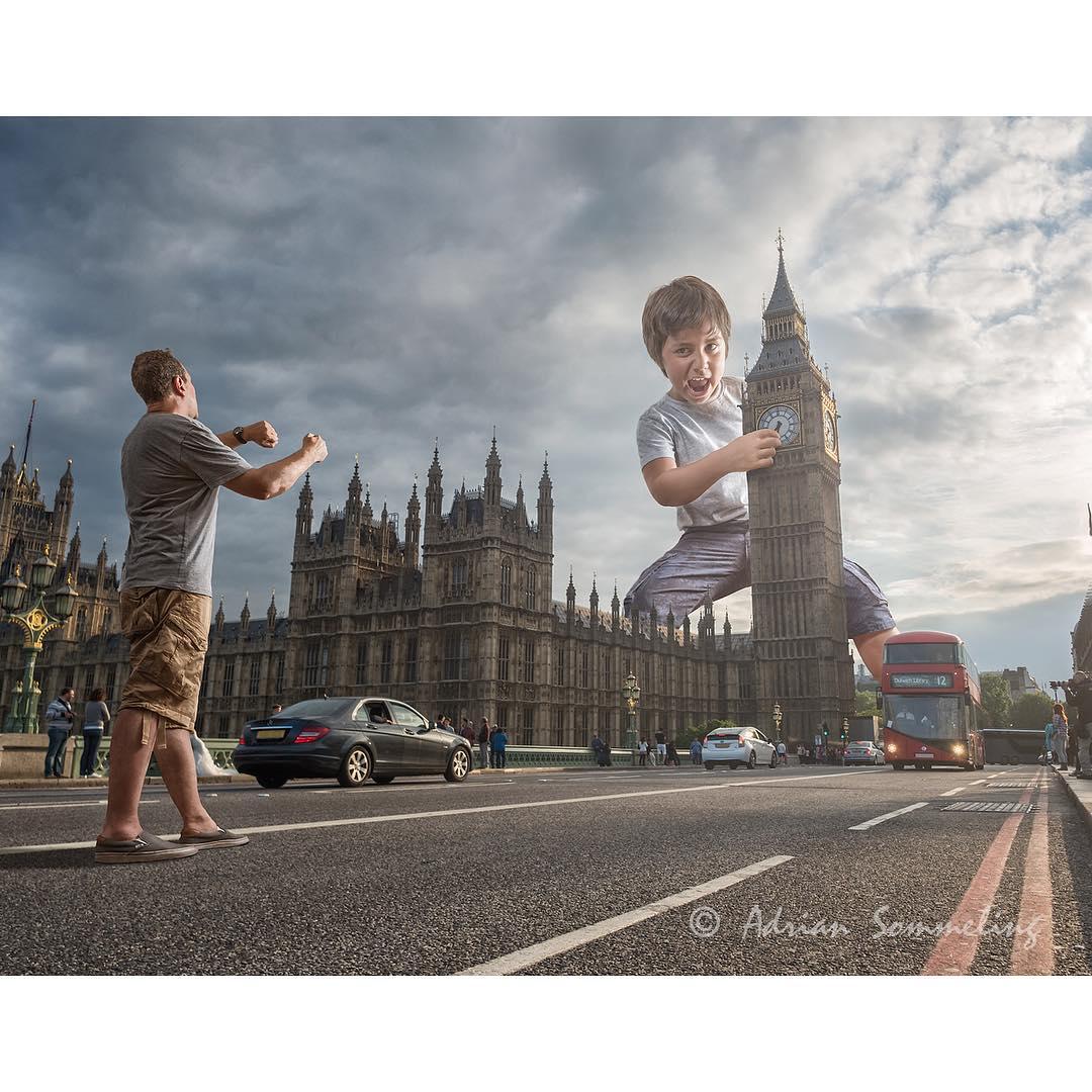 Экстремальные проделки маленького мальчика в коллажах его отца