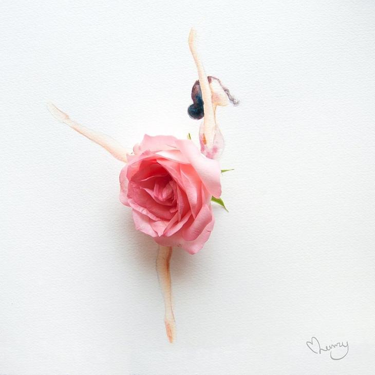 Рисунки из цветов и акварели от Лимзи