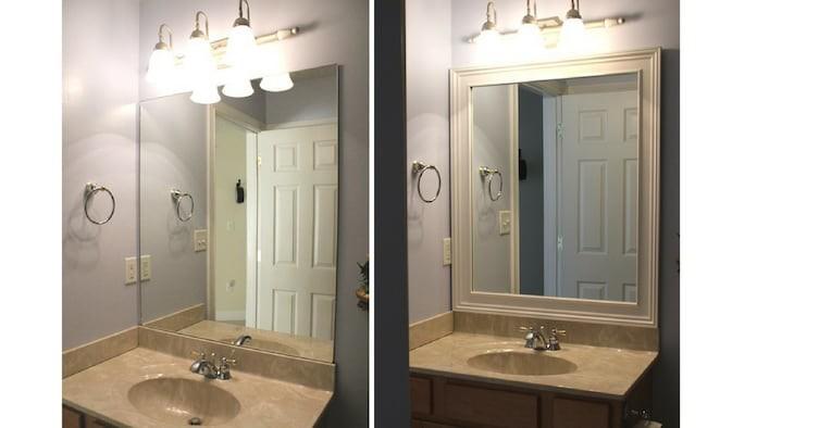 Молдинги превратили зеркало в дизайнерскую находку бюджетно, дом, идеи, креатив, ремонт, своими руками, советы, фото