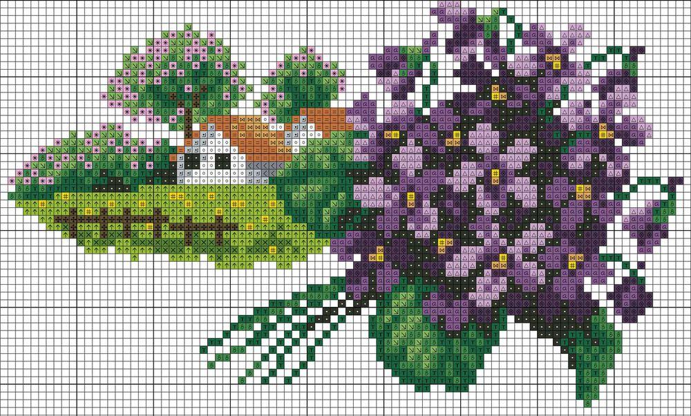 Вышивка природа схемы с цветами