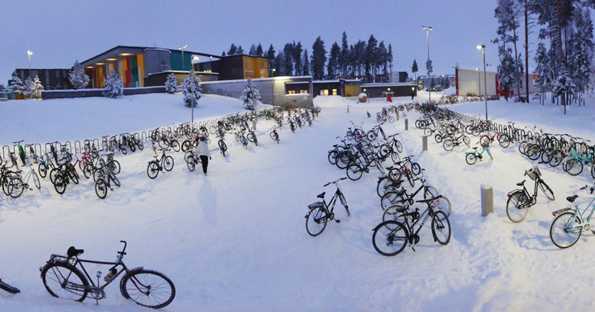 Schoolkids In Finland Are Still Riding Their Bikes To School, Even In Temperatures As Low As -17°C (1.4°F)