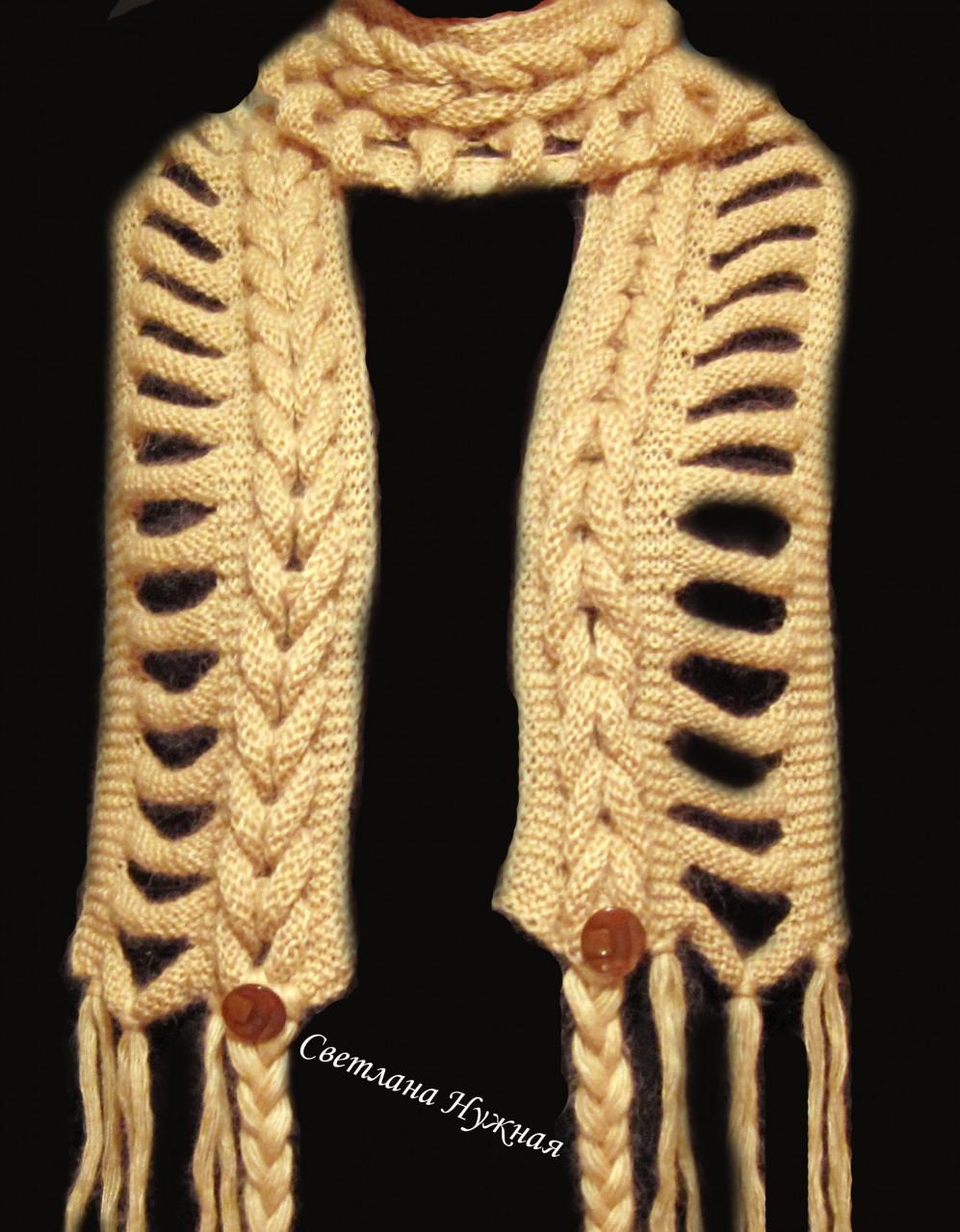 Вязание спицами воротник коса