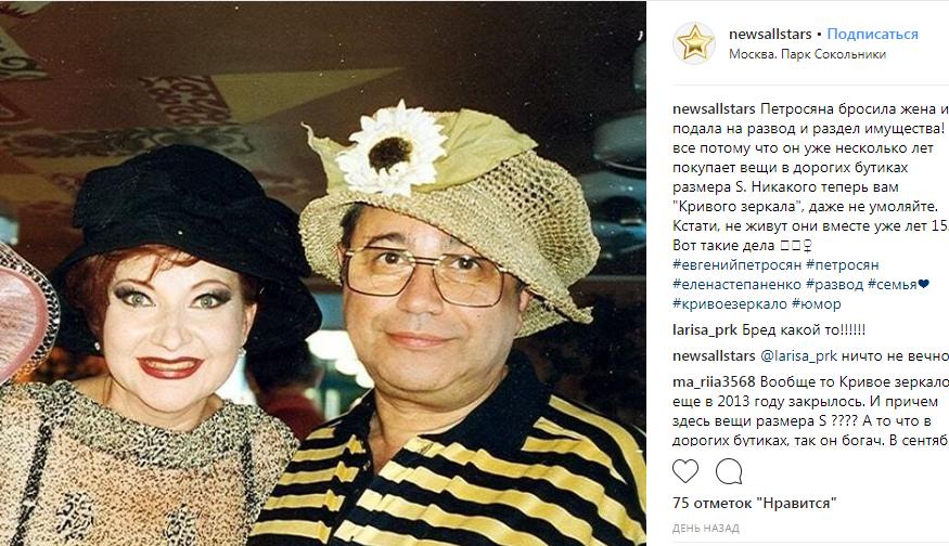 СМИ раскрыли стоимость совместного имущества Петросяна и Степаненко