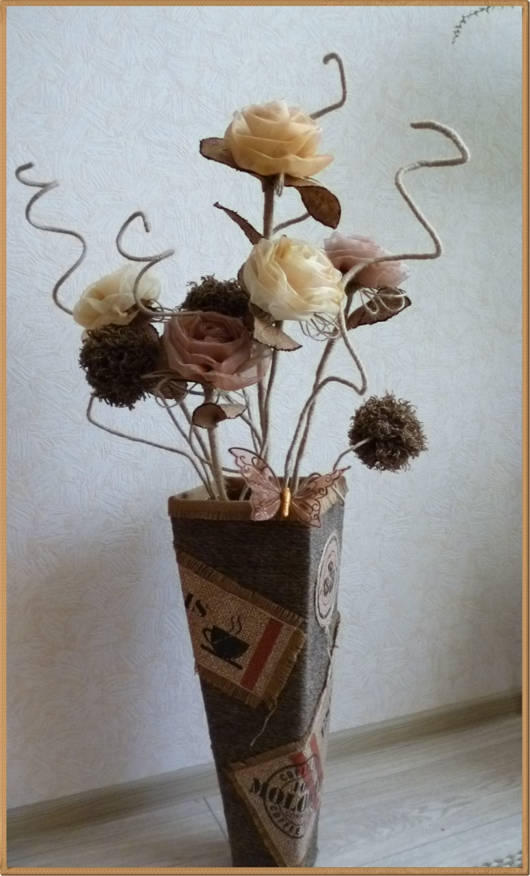 Как сделать цветы на напольную вазу 654