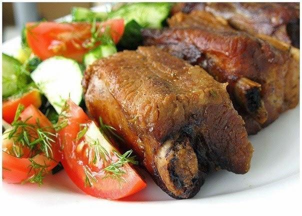 Свинные рёбрышки в пряном соево-горчичном маринаде