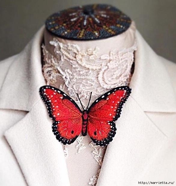 Объемная вышивка - бабочки
