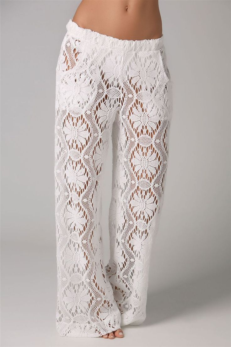 Trina Turk's Kuta Crochet Covers Pants | honeymoon cover-up