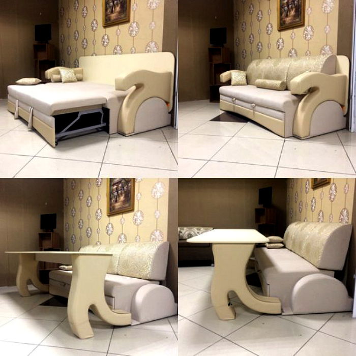 Диван и стол, которые складываются в единое целое.