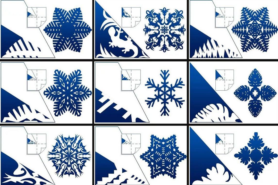 Вырезание новогодних снежинок схемы
