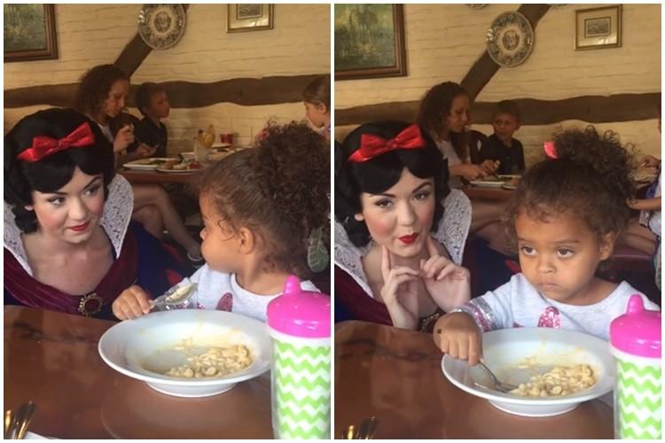 Девочка показала пристававшей к ней Белоснежке, что еда важнее «Диснея»