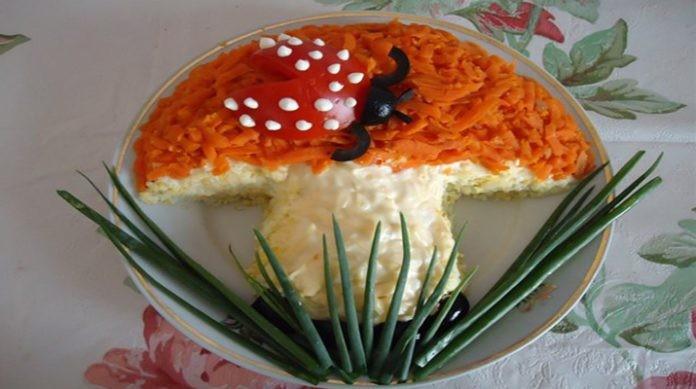 Волшебный салат Грибок. Порадуйте своих гостей такой красотой