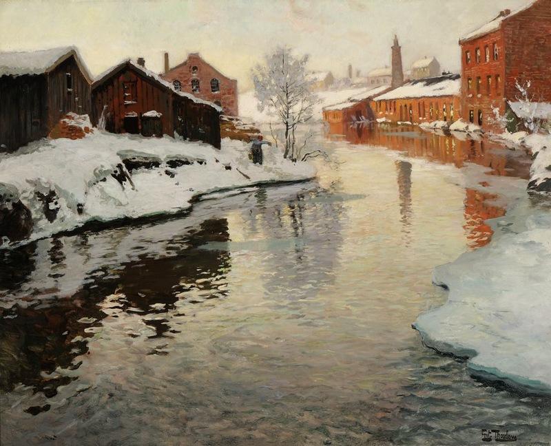 «У дебаркадеров лопочет чернильно-чёрная вода…» Норвежский художник Frits Thaulow (1847 – 1906)