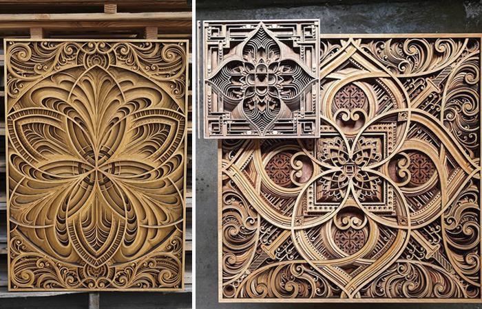 Мастер вырезает из дерева филигранные многослойные картины, так похожие на сакральные мандалы