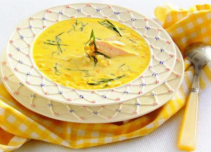 Рисовый суп с курицей и базиликом