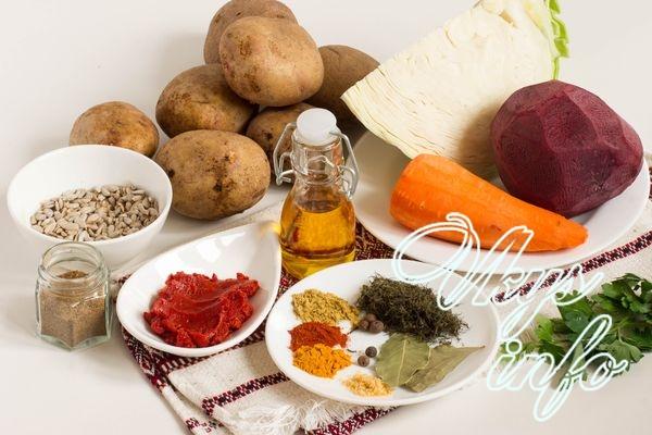 Вегетарианский борщ фото ингредиенты