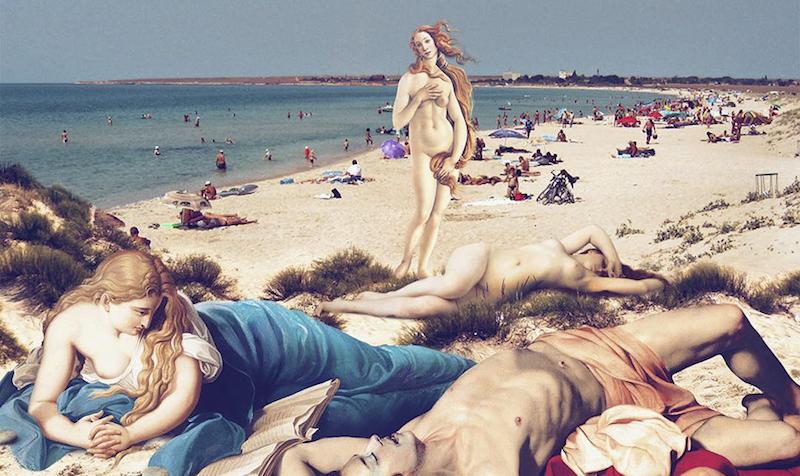 Венера на нудистском пляже: как герои классических полотен вписываются в современность