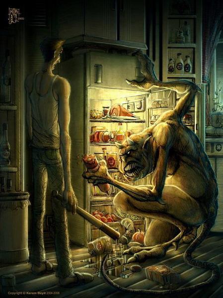 Турецкий художник Kerem Beyit работает в фэнтезийном стиле, часто - в стиле хоррор (ужас)... Но эта его картинка меня развеселила. Не могу придумать к ней название. Может, кто-нибудь поможет? )))